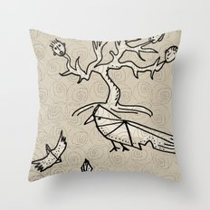 birds and tree monster Throw Pillow