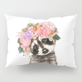 Baby Raccoon with Flowers Crown Pillow Sham