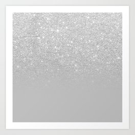 Trendy modern silver ombre grey color block Art Print