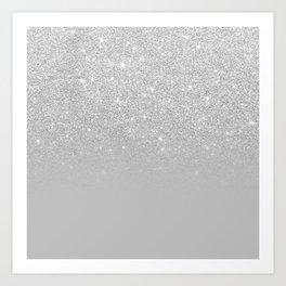 Trendy modern silver ombre grey color block Art Print
