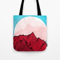Red mountains under the great moon Tote Bag