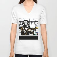 christ V-neck T-shirts featuring Jesus Christ by miss|melissa