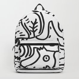 Black and White Hand Draw Graffiti Creatures and the river of life  Backpack
