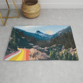 1960's Style Mountain Collage Rug