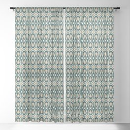 Ikat Teardrops in Olive, Teal and Tan Sheer Curtain