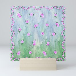 Petunias over Blue and Green with Scalloped Border Mini Art Print