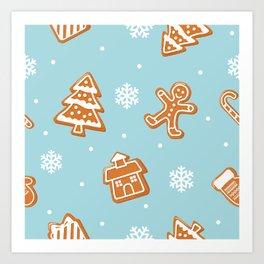 Gingerbread Cookies & Snowflakes Art Print