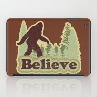 bigfoot iPad Cases featuring Bigfoot Believe by Heather Green