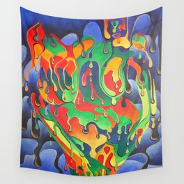 Buxom Nude Woman Splashed With Paint Wall Tapestry