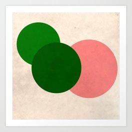 Living Coral Green Vintage Mod Circles Art Print