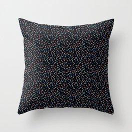 Memphis Style Dark Confetti Throw Pillow