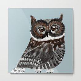 Adorable Owl In Blue Metal Print