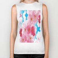 cherry blossoms Biker Tanks featuring Cherry Blossoms by raven's_revelation_city_graphics