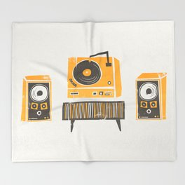 Vinyl Deck And Speakers Throw Blanket