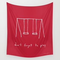 marc Wall Tapestries featuring Don't forget to play - red by Marc Johns