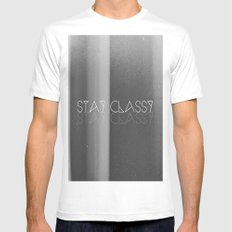 Stay Classy MEDIUM White Mens Fitted Tee
