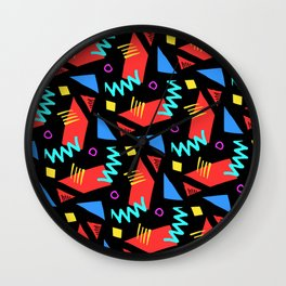 80s Squiggle Pattern Wall Clock