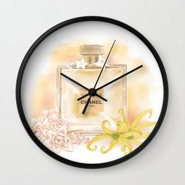 Gabrielle Coco Perfume Fragrance Fashion Drawing Wall Art Illustration Watercolor Wall Clock
