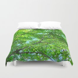 Canopy of Green, Leafy Branches with Blue Sky Duvet Cover