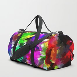 psychedelic splash painting abstract texture in pink blue green yellow red black Duffle Bag