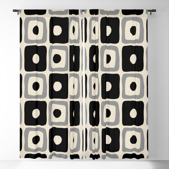 Mid Century Modern Square Dot Pattern 771 Black and Gray by tonymagner