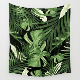 Tropical Jungle Night Leaves Pattern #5 #tropical #decor #art #society6 Wall Tapestry