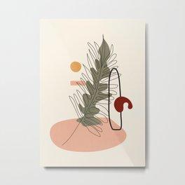 Minimal Line Palm Metal Print