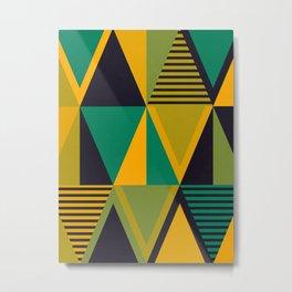 Green Triangles Metal Print