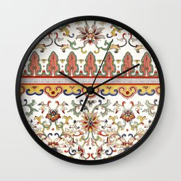 Asian Floral Pattern 6 in White Antique Wall Clock