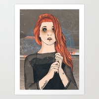 paramore Art Prints featuring Hayley by Clementine Petrova
