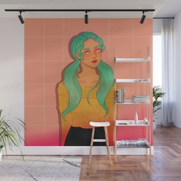 Mint Green Haired Soft Girl Wall Mural