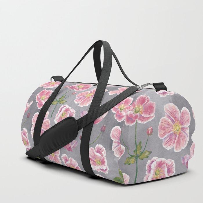Japanese Anemone Flower Painting Duffle Bag