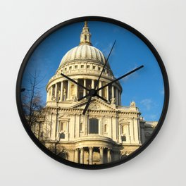 St Pauls Cathedral Blue Sky Sunny Day  Wall Clock
