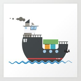 A cute cargo ship on water. Art Print