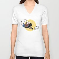 tintin V-neck T-shirts featuring Adventure Tin by Moysche Designs