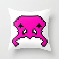 Pixel Invader : Pink Throw Pillow