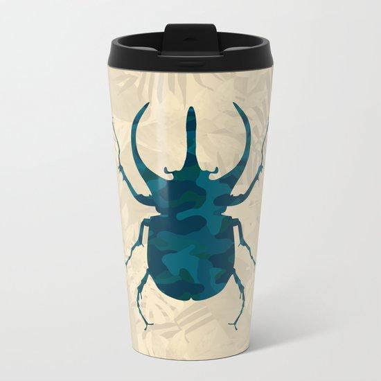 Original Camouflage Pattern Scarab Beetle Metal Travel Mug