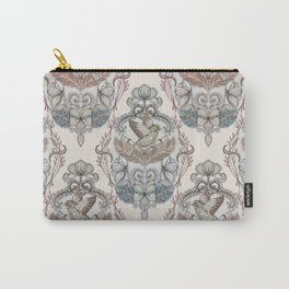 Woodland Birds - hand drawn vintage illustration pattern in neutral colors Carry-All Pouch