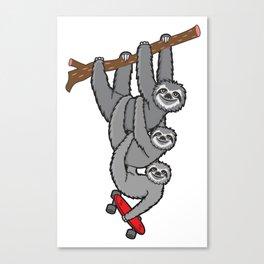 Sloth Skate Canvas Print
