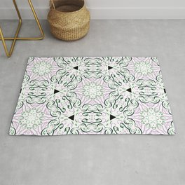Ribbon Line Art in Pink and Green- Graphic Design Pattern Rug