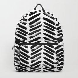 Simple black and white handrawn chevron - horizontal Backpack