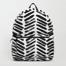 Simple black and white handrawn chevron - horizontal Backpack