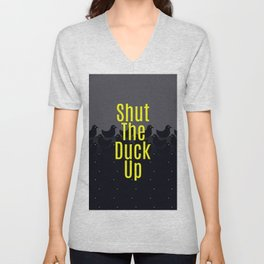 Shut the Duck Up! Typography on Cute Duckies Unisex V-Neck