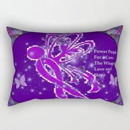 Power Purple For a Cure - The Wings of Love Rectangular Pillow
