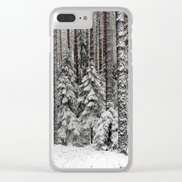 After the snowfall in taiga forest Clear iPhone Case