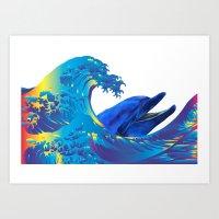 hokusai Art Prints featuring Hokusai Rainbow & Dolphin by FACTORIE