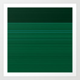 Dark Emerald Green with Light Blue Stripes Art Print