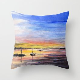 Beautiful Sunset Watercolor Painting Throw Pillow