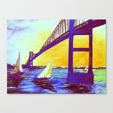 Neon Newport Bridge Canvas Print