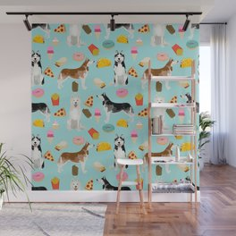 Husky siberian huskies junk food cute dog art sweet treat dogs pet portrait pattern Wall Mural